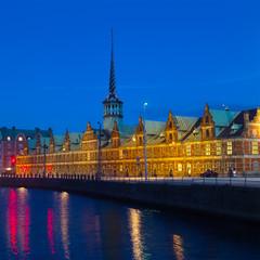 Old Stock Exchange at night in Copenhagen, Denmark.