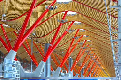 Ceiling structure of Barajas airport in Madrid, Spain. - 75282744