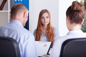 Girl focused on job interview