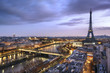 Leinwanddruck Bild - Panorama de la ville de Paris avec la Tour Eiffel