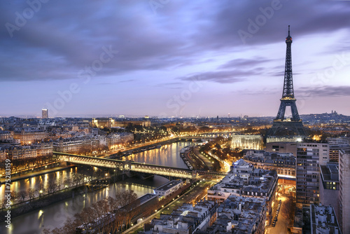 Spoed canvasdoek 2cm dik Parijs Panorama de la ville de Paris avec la Tour Eiffel