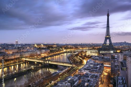 Poster Panorama de la ville de Paris avec la Tour Eiffel