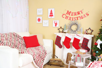 White sofa in decorated living room. Christmas decoration