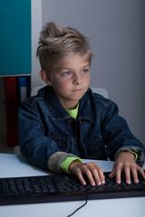 Rude boy surfing on the Internet