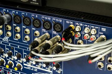 Audio connectors on a sound mixer