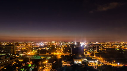 Timelapse of downtown Miami from above at night