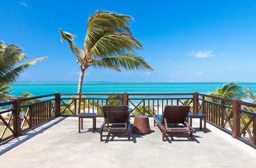 terrasse avec vue sur mer, île Rodrigues, Maurice