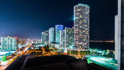 Time-lapse of downtown Miami from above at night