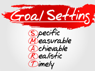 Hand writing SMART Goal Setting, vector concept background