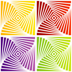 Colorful optical illusion with squares