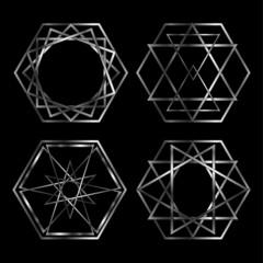 Set of Artistic hexagonal logos in silver