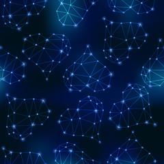 Constellations of hearts on night sky.