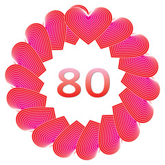Happy birthday sign for 80 years