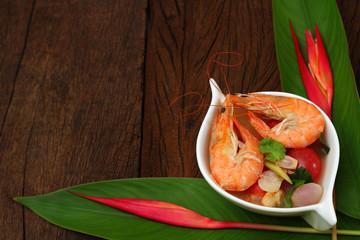 Sour prawn soup is Thai food.