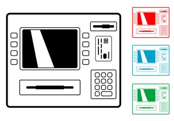 Pictograma cajero automatico con varios colores