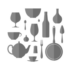 Kitchen utensil. Icon set