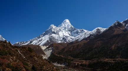 Ama Dablam mountain view in Nepal