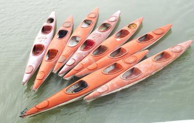 Canoes at Halong bay