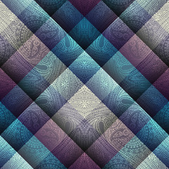 Paisley pattern on geometric background.