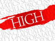 HIGH. Word education collage on gray vector background