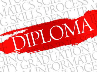 DIPLOMA. Word education collage on gray vector background