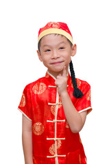 Asian boy with Chinese traditional dress thinking to gift, Chine