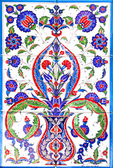 traditional turkish floral ornament on tiles