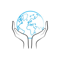 Hands holding planet