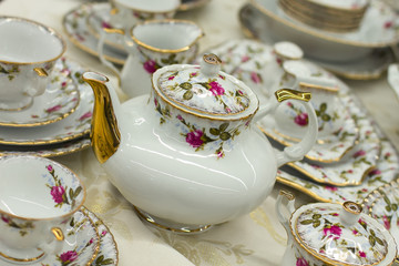 tea set with floral print