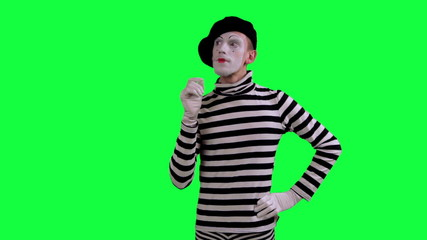The mime thinks about something