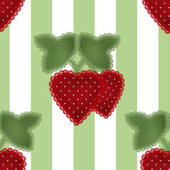 Patchwork strawberry seamless patern striped background