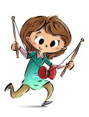 niña jugando con diábolo