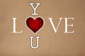 LOVE YOU Word - Cardboard Texture