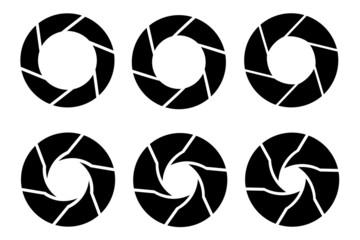 Vector black camera shutter icons set on white background