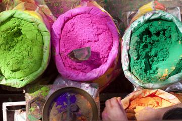 bright Indian colors , Holi , Rajasthan , India