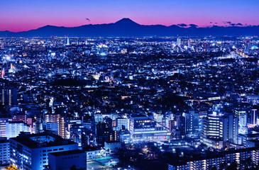 東京の夕暮れと富士山