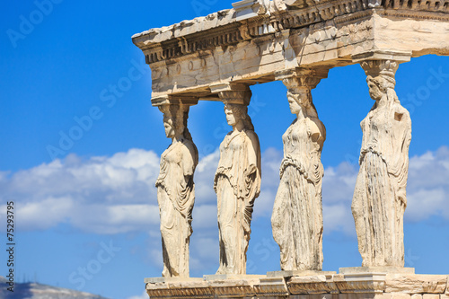 Plexiglas Athene Erechtheion with the Caryatids. Athens, Greece