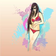 Девушка в солнцезащитных очках, загар, пляж, солнце