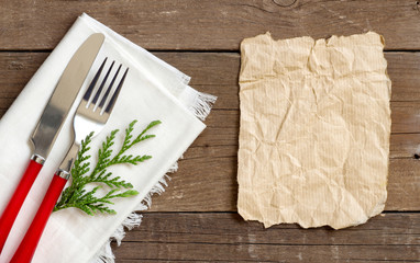 Festive table setting with paper