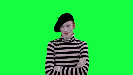 The mime boy laughs hysterically