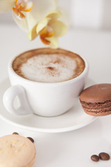 Cup of cappuccino with macaroon cookies