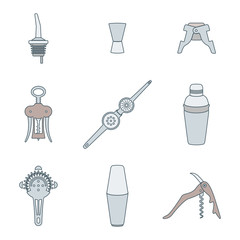 vector colored outline barman equipment icons set tools