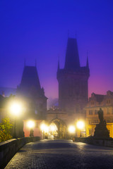 The Old Town as seen from Charles bridge in Prague