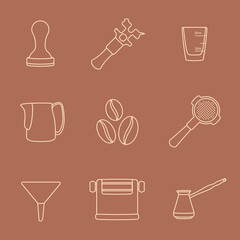 vector brown outline coffee barista equipment icons set tools