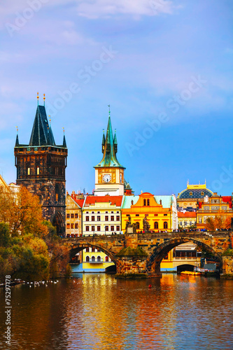 The Old Town Charles bridge tower in Prague - 75297178