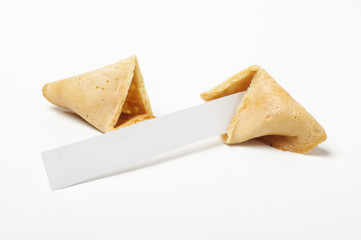 Open fortune biscuit with empty paper