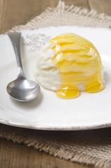 vanilla yogurt ice cream with acacia honey