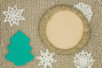 Jute yarn knitted fabric. Snowflakes, Christmas Tree.