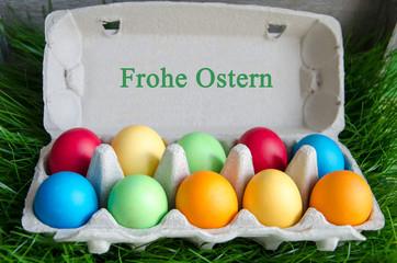 Frohe Ostern Ostereier im Karton
