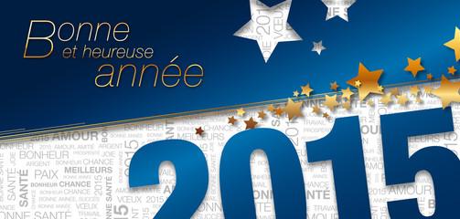 Carte de vœux 2015 bleue étoiles multitexte kazy